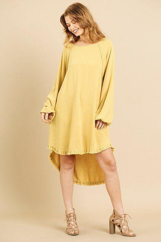 My Bargain Boutique Golden Yellow / S Puff Sleeve Round Neck High Low Dress