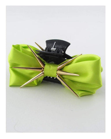 My Bargain Boutique Green Bow Hair Jaw Clip w/Decorative Spikes