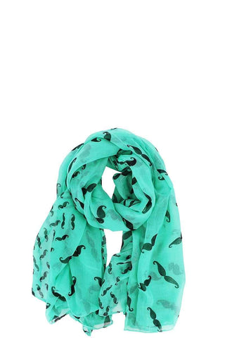 Image of My Bargain Boutique Green Designer Chiffon Mustache Print Scarf
