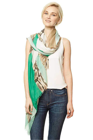 My Bargain Boutique Green Python Block Print Long Scarf