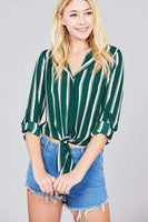 My Bargain Boutique Green / S Ladies Fashion 3/4 Roll Up Sleeve Notched Collar Front Tie Multi Striped Woven Top