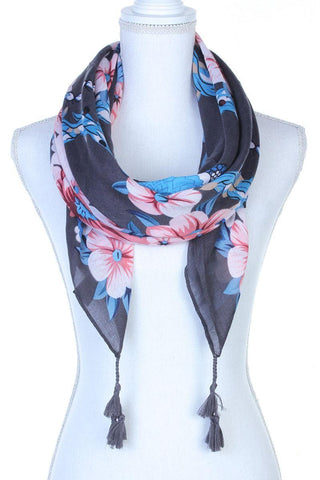 Image of My Bargain Boutique Grey Floral Pattern Tassel Oblong Scarf