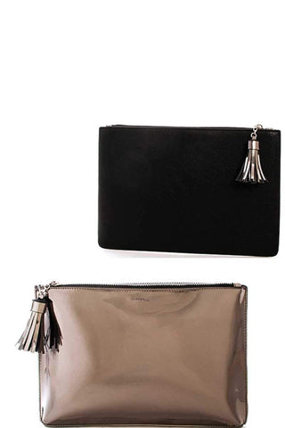 My Bargain Boutique Gunmetal Princess Re Flexion Two Color Clutch Bag