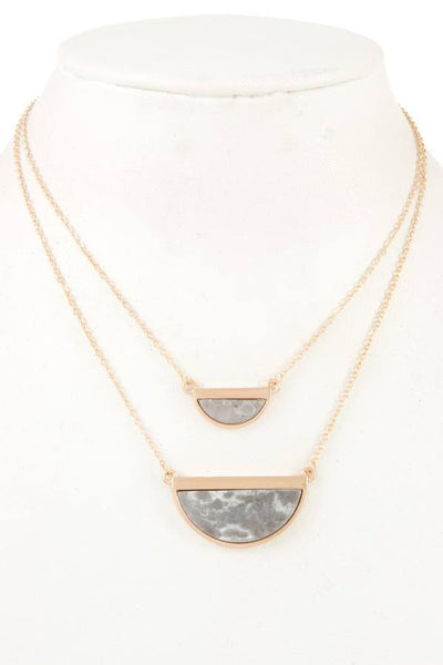 Half Framed Gemstone Double Row Necklace - My Bargain Boutique - Affordable Women's Clothing