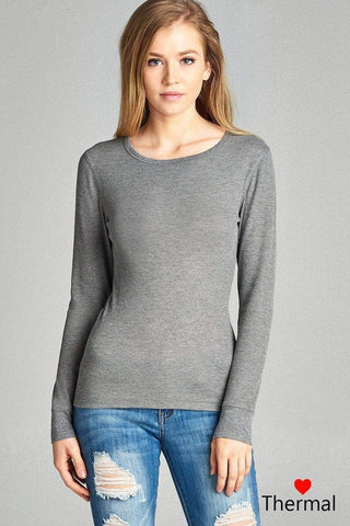 My Bargain Boutique Heather Grey / S Crew Neck Thermal Top