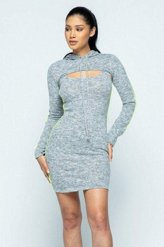 Image of My Bargain Boutique Heather Grey / S Hacci Hoodie And Tank Top Dress Set