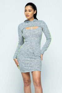 My Bargain Boutique Heather Grey / S Hacci Hoodie And Tank Top Dress Set