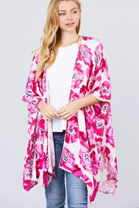 My Bargain Boutique Ivory/Hot Pink / S Kimono Cardigan