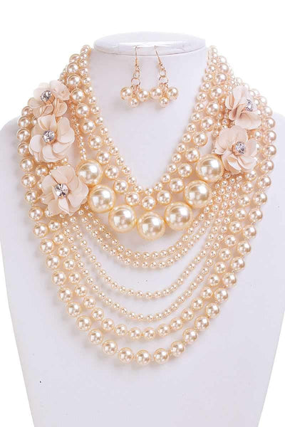 My Bargain Boutique Ivory Pearl With Flower Necklace And Earring Set