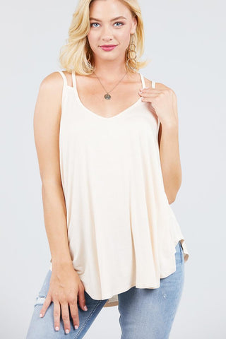 My Bargain Boutique Ivory / S Double Shoulder Strap Cami Top