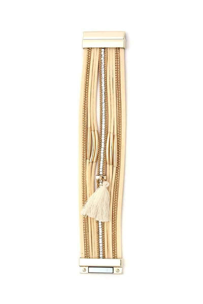 My Bargain Boutique Ivory Tassel Multi Layered Magnetic Bracelet