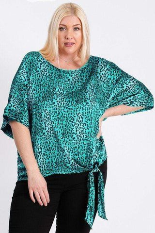Image of My Bargain Boutique Jade / 1XL Leopard Print Woven Top With Side Knot