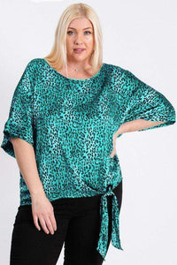 My Bargain Boutique Jade / 1XL Leopard Print Woven Top With Side Knot