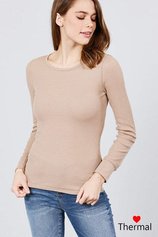 My Bargain Boutique Khaki / S Crew Neck Thermal Top