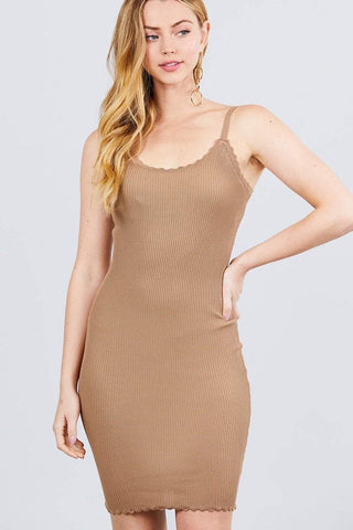 Image of My Bargain Boutique Khaki / S Scallop Edge Mini Dress