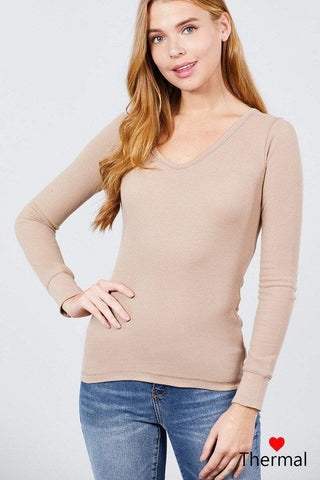My Bargain Boutique Khaki / S V-neck Thermal Top