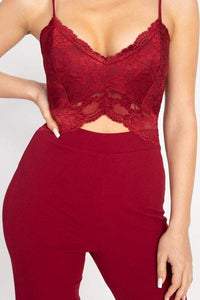 My Bargain Boutique Lace Front Cutout Jumpsuit
