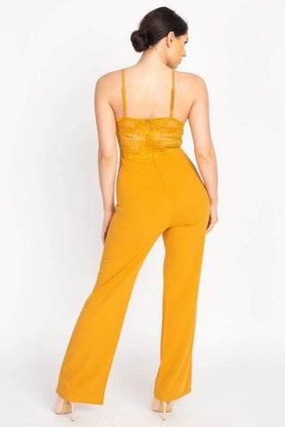 Image of My Bargain Boutique Lace Front Cutout Jumpsuit