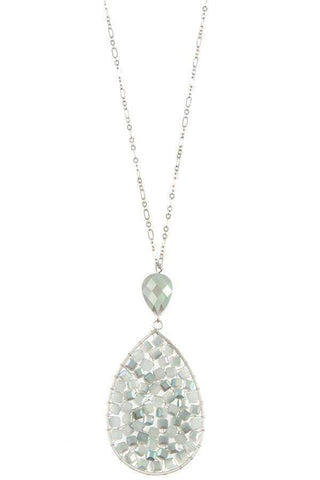 My Bargain Boutique Ladies faceted wired teardrop long necklace