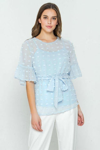Image of My Bargain Boutique Light Blue / S Pom-Pom Top