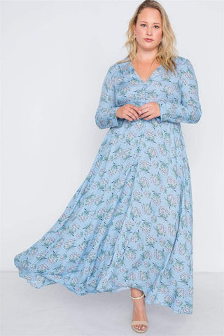 Image of My Bargain Boutique Light Blue / XL Button Down Maxi Dress