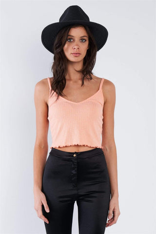 Image of My Bargain Boutique Light Coral Pink / S Spaghetti Strap Crop Top