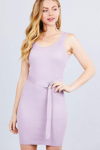 Image of My Bargain Boutique Light Mauve / S Sleeveless Sweater Mini Dress