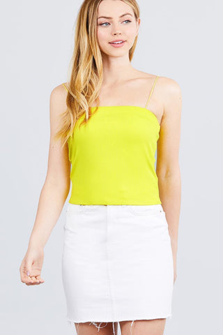 Image of My Bargain Boutique Lime Yellow / S Elastic Strap Tube Top