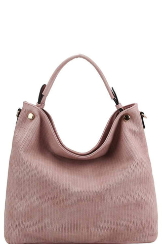 My Bargain Boutique Mauve Stylish Modern Mesh Front Hobo Bag With Long Strap