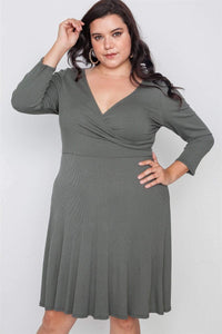 My Bargain Boutique Military / 1XL Ribbed V-Neck Dress