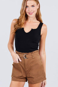 My Bargain Boutique Mocha / S Side Pocket Paper Bag Short Pants