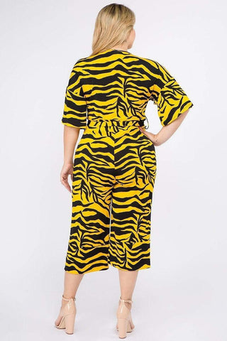 My Bargain Boutique Multi Color Zebra Print Short Sleeve Jumpsuit
