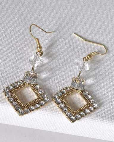 My Bargain Boutique Multi Crystal Studded Rhombus Shaped Earrings with Fishhook