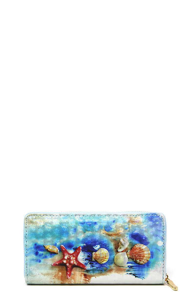Fashion Sea Life Shell Print Wallet - My Bargain Boutique - Affordable Women's Clothing