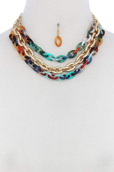 My Bargain Boutique Multi Triple Layer Multi Color Thick Chain Necklace And Earring Set
