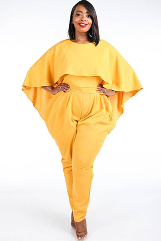 My Bargain Boutique Mustard / 1XL Cape Style Harem Jumpsuit