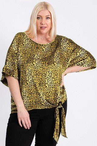 Image of My Bargain Boutique Mustard / 1XL Leopard Print Woven Top With Side Knot