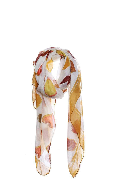 My Bargain Boutique Mustard Fashion Soft Water Color Heart Print Scarf