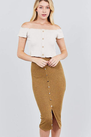 Image of My Bargain Boutique Mustard / S Front Button Down Detail Tow Tone Knit Midi Skirts