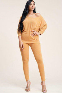 My Bargain Boutique Mustard / S Solid French Terry Slouchy Top And Pants Two Piece Set