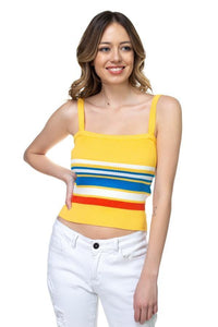 My Bargain Boutique Mustard / S Stripe Sweater Cropped Top