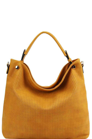 My Bargain Boutique Mustard Stylish Modern Mesh Front Hobo Bag With Long Strap