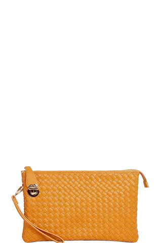 My Bargain Boutique Mustard Woven Clutch Crossbody Bag With Two Straps