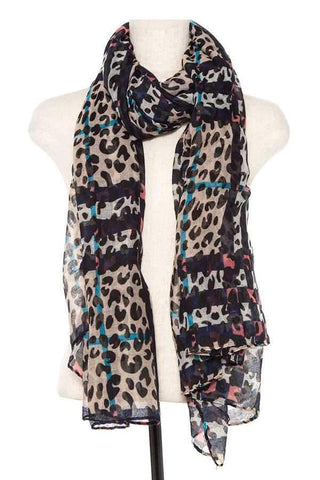 My Bargain Boutique Navy Animal Print Scarf