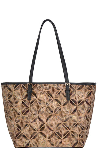 Image of My Bargain Boutique Navy Chic Trendy Cork Textured Fashion Pattern Shopper Bag
