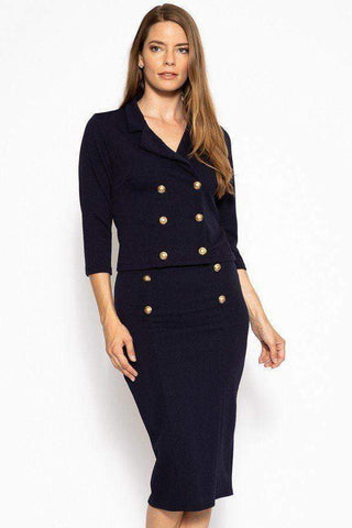 Image of My Bargain Boutique Navy / S Classic Skirt Suit Set
