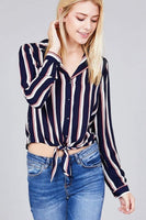My Bargain Boutique Navy / S Ladies Fashion 3/4 Roll Up Sleeve Notched Collar Front Tie Multi Striped Woven Top