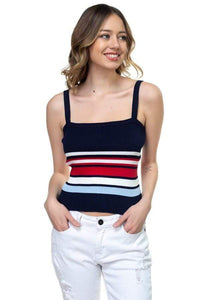My Bargain Boutique Navy / S Stripe Sweater Cropped Top