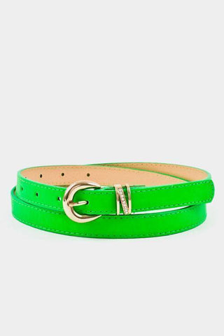My Bargain Boutique Neon Green Buckle Accent Stitch Belt