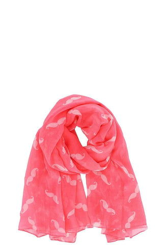 Image of My Bargain Boutique Neon Pink Designer Chiffon Mustache Print Scarf